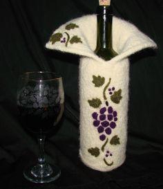 Felted Wine Bottle Cover with Needle FeltingDesign