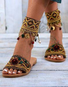 Leather sandals Slides Handcrafted sandals Greek leather