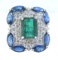 Emerald Blue Sapphire Diamond Ring