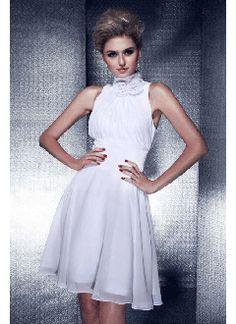 Exquisite A-line High-neck Mini-length Chiffon Prom Dress