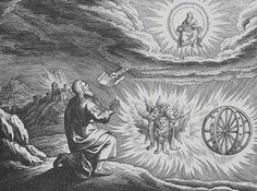 Ezekiel's Vison, in which the four Classical elements surround and support the Chariot of God - By Matthaeus (Matthäus) Merian (1593-1650) [Public domain], via Wikimedia Commons