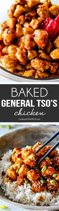 BAKED AND NOT FRIED General Tso's Chicken! Sweet caramel sauce balanced by Asian chili sauce and zingy ginger, all infused with garlic and toasted sesame seed oil. MY FAVORITE CHINESE CHICKEN EVER!