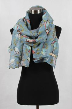 (Unconditional) Sparrow Print Scarf Blue-Gray 100% Viscose