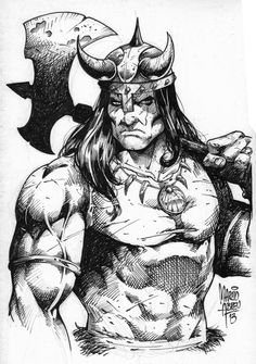 Art by Gil Kane Story by Roy Thomas & Gerry Conway Not actually a Conan tale, but it was based on a story by REH. Barbarian King, Conan The Barbarian, Warrior King, Viking Warrior, Red Sonja, Comic Book Artists, Comic Book Characters, Character Art, Character Design