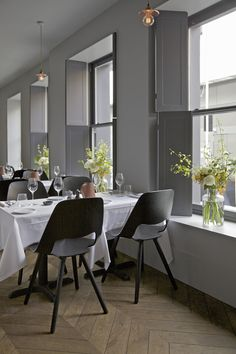 One Leicester Street Restaurant — London grey bjad window