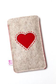 Cell phone case for your iphone or any other smartphone - RED HEART