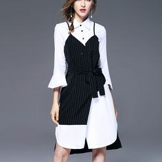 FAKE TWO PIECE BLACK AND WHITE SHIRT DRESS Old: $84.67 Now: $51.78