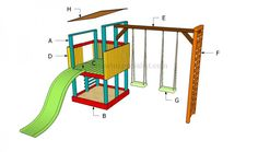 This step by step woodworking project is about how to build a playground. Building a wooden playset is one of those projects that will improve the creativity of your kids. Kids Playhouse Plans, Build A Playhouse, Simple Playhouse, Playhouse Kits, How To Build Steps, Wooden Playset, Backyard Playground, Playground Ideas, Natural Playground