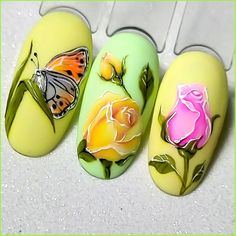 Butterfly Nail Designs, Easter Nail Designs, Nail Art Fleur, Wrap Around Tattoo, Nail Art Wheel, 3d Flower Nails, Fruit Nail Art, Nail Art Designs Videos, Easter Nails
