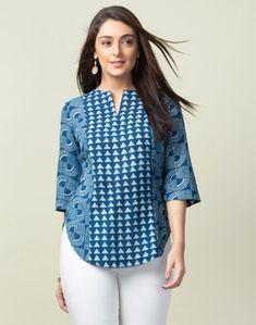 Short Kurti Designs, Simple Kurti Designs, Stylish Dress Designs, Salwar Designs, Kurta Designs Women, Stylish Dresses, Cotton Tops For Jeans, Stylish Tops For Women, Fancy Tops