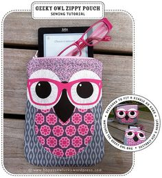 Geeky Owl Zippy Pouch Tutorial Pinned by www.myowlbarn.com