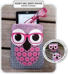 Geeky Owl Zippy Pouch Tutorial