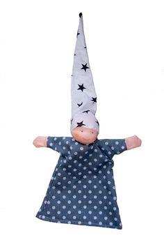Handpop grijs met stippen en sterren schattig van MijnPopje op Etsy, €11.95