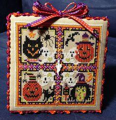 Just Nan-Frightful cross stitch Halloween ornament