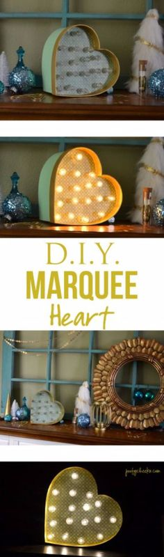 Best DIY Room Decor Ideas for Teens and Teenagers - DIY Heart Marquee Light - Best Cool Crafts, Bedroom Accessories, Lighting, Wall Art, Creative Arts and Crafts Projects, Rugs, Pillows, Curtains, Lamps and Lights - Easy and Cheap Do It Yourself Ideas for Teen Bedrooms and Play Rooms http://diyprojectsforteens.com/diy-room-decor-ideas-teens
