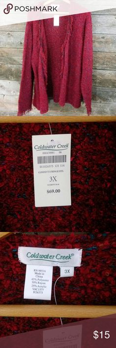 Coldwater Creek 24/26 Confetti Fringe Cardigan Coldwater Creek 24/26 Confetti Fringe Cardigan. 3x or womens 24/26 like it says on the tag. Confetti Fringe cuffs and collar.  So comfy.   New with Tags $69.00 original price. I pick only the best for you gals.  😄Please take a look at my other items all Lane Bryant cloths below $15.😄 Coldwater Creek Sweaters Cardigans