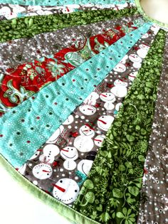 Modern Christmas Tree Skirt Red Aqua Grey Snowman - 40 inches. $105.00, via Etsy.