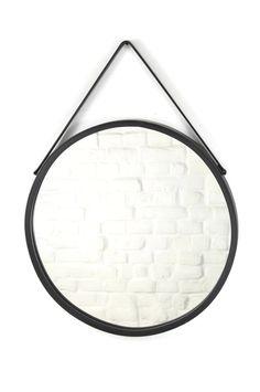 Okrągłe metalowe czarne lustro na pasku - Dekoracje Irys