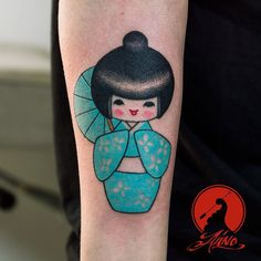 Kokeshi doll tattoo, fun and super cute tattoo for today! Thank you @eminanuvoli !!!  #japanesetattoo #doll #kokeshi #kokeshidoll #kokeshidolltattoo #alino #arbiadesign #inked #alinotattoo