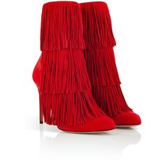 Paul Andrew Suede Fringed Taos Boots ($530) ❤ liked on Polyvore featuring shoes, boots, ankle booties, heels, footwear, ankle boots, suede fringe boots, short fringe boots, high heel bootie and fringe booties