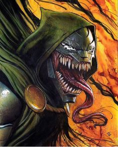 I've found a lot of these #Venom #variantcovers cool but none of them nearly as awesome as this #venomized #DrDoom cover by #AdiGranov!  Thanks to @nomoremutants where I found the pic. #KneelBeforeDoom #IAmDoom #DoctorDoom #VictorVonDoom #symbiote #variant