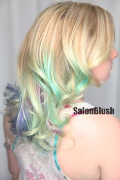Hair by www.salonblush.com in philadelphia a beautiful mint green and lavender purple pastel hair color ombre, pravana