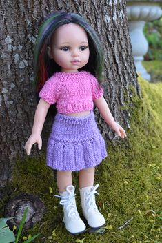 Ravelry: Cotton Candy free pattern for and dolls such as Les Chéries Barbie Knitting Patterns, Knitting Dolls Clothes, Crochet Doll Clothes, Knitted Dolls, Girl Doll Clothes, Doll Clothes Patterns, Crochet Dolls, Barbie Clothes, Girl Dolls