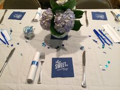 Love is sweet// tablescape | Something Blue bridal shower