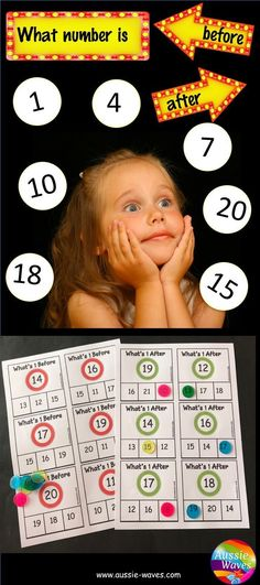 Printable Math Centre Activity. Thinking of ordering. What number come before and after task?