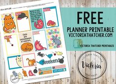 Free Printable It's a Cats Life Planner Stickers from Victoria Thatcher