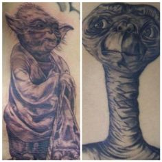My mothers Yoda& ET drawings transformed into the PERFECT tattoos. Done by Jason @ Webbworks Tattoo Studio, Naples, FL
