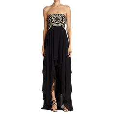 Make a dramatic statement with this cascading chiffon high-low dress by Sue Wong. This strapless dress features a stunning beaded embroidered high waist bodice perfect for any event where you would li
