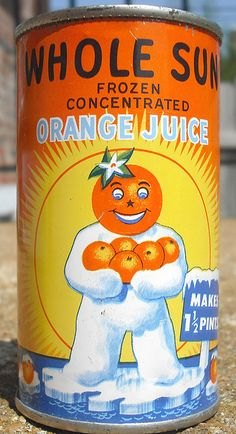 Vintage Whole Sun Frozen Orange Juice Concentrate Tin Can by gregg_koenig, via Flickr