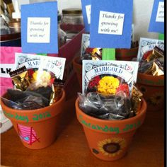 """Flower pot party favors  """"Thanks for helping me grow!""""for teachers with invites"""