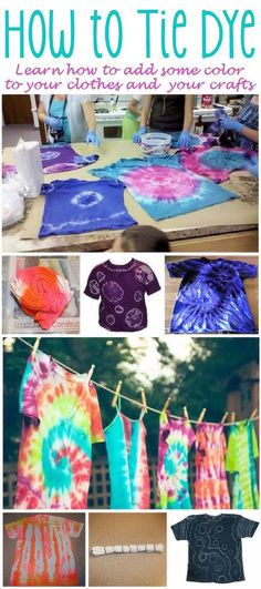 How to Tie-Dye - Discover how easy it is to to add some color to your clothes and crafts by using these tie-dye techniques. (http://familycrafts.about.com/cs/tiedye/a/041601a.htm)
