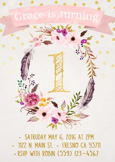 Boho Chic Birthday Invitation First Birthday Tribal Princess Rustic Pink and Gold Shabby Chic Water Color Flowers Vintage Dream Catcher