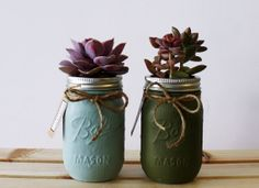 Collection of two hand painted succulent jars (blue, olive)