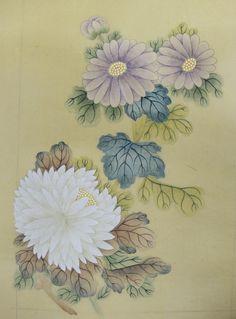 Korean Painting, Fluxus, Chrysanthemum, Illustration, Floral, Flowers, Inspiration, Color, Chinese Brush