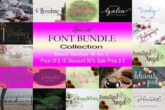 SPECIAL FONT BUNDLE COLLECTION #canbeusedforvariouspurpos #logos #weddinginvitation #tshirt #letterhead #lable #news #posters #badgesetc