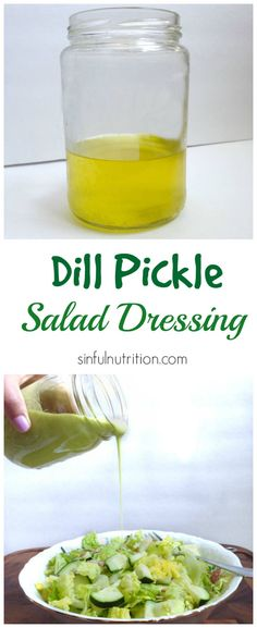 Creamy Dill Pickle Dressing - Sinful Nutrition Calling all pickle lovers! A tangy and creamy dill pickle salad dressing recipe made with pickle juice, avocado, and olive oil. Sauce Recipes, Paleo Recipes, Cooking Recipes, Avocado Recipes, Cooking Tips, Basic Cooking, Spinach Recipes, Salad Dressing Recipes, Salad Dressings