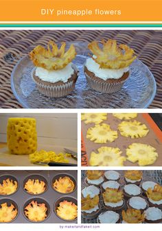 Pineapple flower cupcake toppers