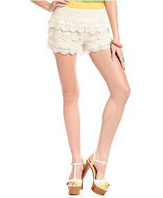 Jolt Juniors Shorts, Scalloped-Hem Lace - Juniors Shorts - Macy's