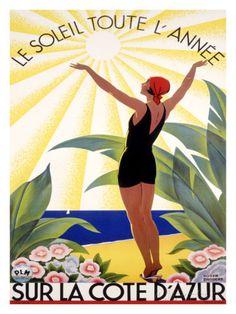Cote d'Azur, Le Soleil Toute l'Annee Impressão giclée