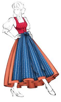 Dirndl mit gezogenem Brustteil (FIG0001) - Modell 6 Folk Costume, Costumes, Ecommerce, Cinderella, Aurora Sleeping Beauty, Illustrations, Thoughts, Website, Disney Princess