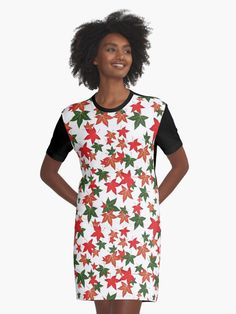 'Pink Floral Pattern' Graphic T-Shirt Dress by nicepunk V Neck T Shirt, Shirt Dress, Purple Tulips, Yellow Flowers, Pink Blue, Clover Green, Colorful Roses, Tropical Flowers, Chiffon Tops