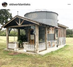 Silo House, Tiny House Cabin, Backyard Patio, Backyard Landscaping, Outdoor Rooms, Outdoor Living, Barn House Plans, Metal Buildings, Cabins In The Woods