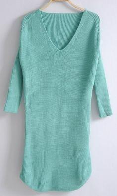 $40 Green Long Sleeve Mid Waist Loose Sweater Dress