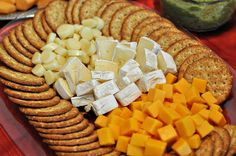 Cheese and Crackers Tray- - - Appetizers Party Trays, Party Platters, Party Snacks, Party Desserts, Party Cakes, Cheese And Cracker Platter, Charcuterie And Cheese Board, Wedding Appetizers, Finger Food Appetizers
