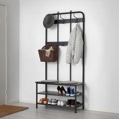 PINNIG black, Coat rack with shoe storage bench - IKEA Shoe Storage Bench Ikea, Coat And Shoe Storage, Bench With Storage, Ikea Bench, Furniture Storage, Entryway Bench Ikea, Entryway Ideas, Ikea Shoe, Bench Mudroom