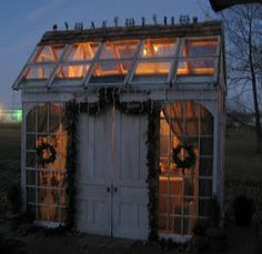 Garden shed, greenhouse. Would love to have this in my back yard. Window Greenhouse, Greenhouse Shed, Small Greenhouse, Outdoor Rooms, Outdoor Gardens, Outdoor Decor, Outdoor Sheds, Small Gardens, Indoor Outdoor